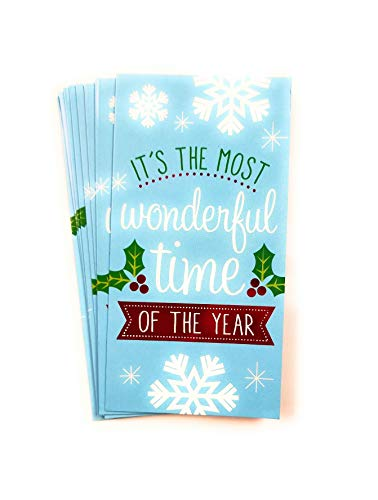 Christmas Money or Gift Card Holder Cards - Set of 8 with Metallic/Glitter Accents (Wonderful Time)