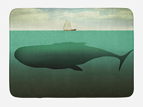 Ambesonne Fantasy Bath Mat, Surreal Giant Whale in the Middle of Sea and Little Sailboat on the Surface Print, Plush Bathroom Decor Mat with Non Slip Backing, 29.5 W X 17.5 W Inches, Green Beige ()