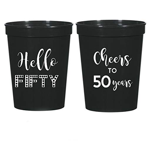 50th Birthday Black Stadium Plastic Cups - Hello 50, Cheers to 50 Years