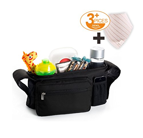Stroller Organizer Deluxe Bags Stroller Accessories +3 Free Additional Cotton Baby Bibs , Two Deep Cup Holders and Extra-Large Storage Space for Universal Organizer Bag by Aerial pavilion