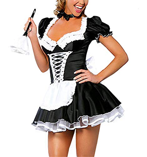 M_Eshop Women Sexy Maid Lingerie French Maid Costume Halloween Fancy Dress (M) ()