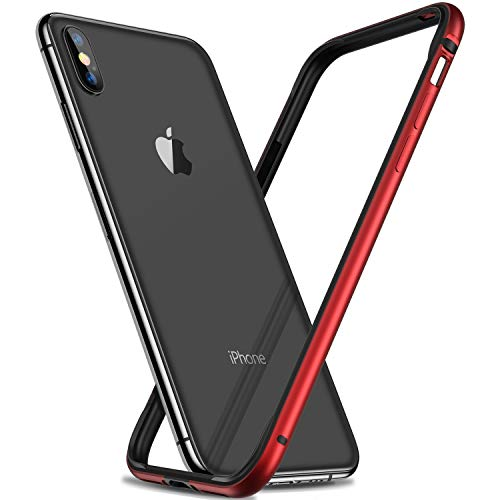 RANVOO Bumper Case for iPhone Xs / iPhone X,Hard Slim Thin Protective Bumper Case with Soft TPU Inner Frame Compatible for iPhone Xs / iPhone X 5.8 inch-RED
