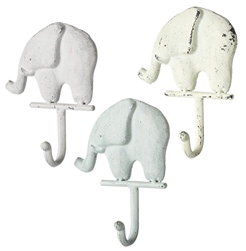- Set of 3 Cast Iron Elephant Wall Hooks