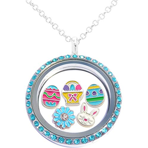 Easter Floating Locket Set Including Necklace and 5 Locket Charms -