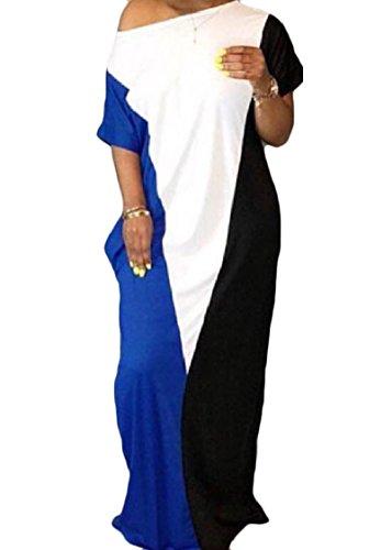 Coolred-femmes Week-end Contraste Couleur Longue Robe Ample De Poche Ras Du Cou Motif1