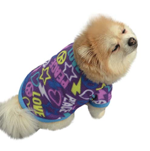 (Pet Sweater,JHKUNO Fuzzy Velvet Thermal Pet Clothes for Dog Pajamas Fleece Clothes Warm Puppy Tshirt for Small Dogs)