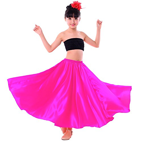 Backgarden Girl Children Color Stretched Waist Performance Circle Skirt Belly Dance Dress (Small, Rose red)