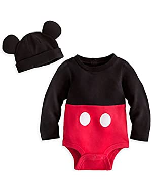 Disney Store Mickey Mouse Costume Bodysuit Hoodie Hooded Size 3 - 6 Month