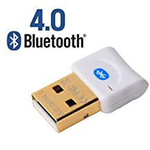 AndThere Bluetooth 4.0 Dongle Class 2 USB Bluetooth Adapter for PC with Windows 10/8.1/8/7/Vista/XP Plug and Play on Win 7 and above (White)
