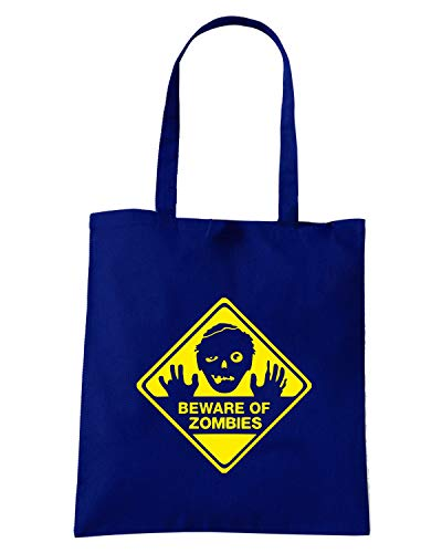 Speed Shirt Borsa Shopper Blu Navy TZOM0023 BEWARE OF ZOMBIES