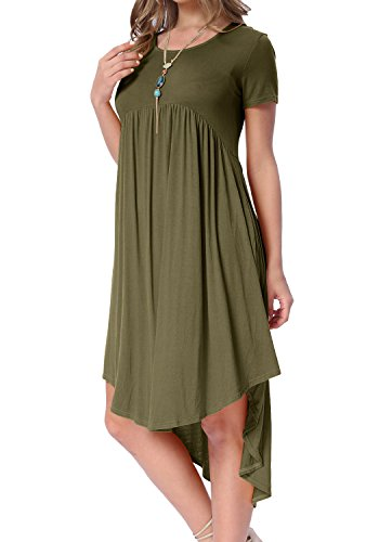 High Neck Swing levaca Women's army Green Pleated Low Midi 01 Loose Scoop Dress Pockets Casual wp1wqgTIx