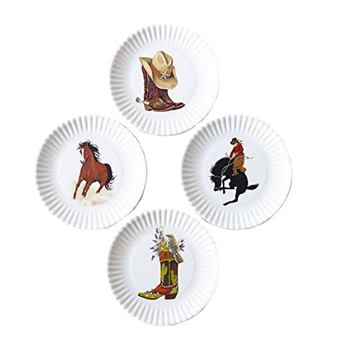 Set of 4 Western-Themed Appetizer Party Faux Paper Plates-6