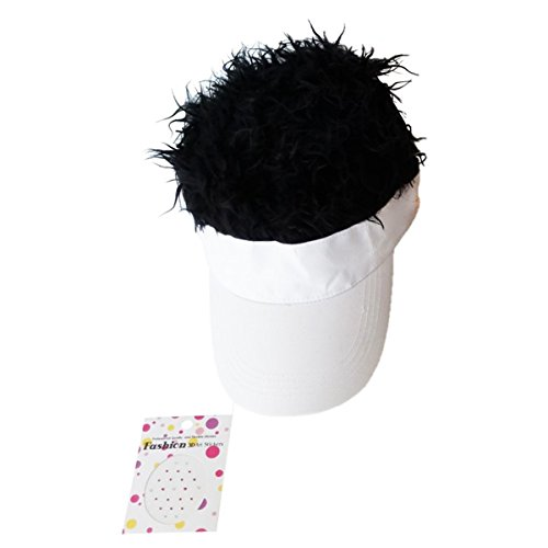 [Unique & Fun Camouflage(Pink, Lavender, White) Hat with Attached Faux Spiky Hair in Assorted Hair Colors and 1 Pack of Nose or Body Art Stickers, (White with Black] (Superhero Outfits Ideas)
