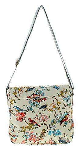 NEU Damen / Damen weiß / Multi Vogel Aufdruck Leinen Schultertasche Taschen - weiß / MULTI - UK Größen 1-1