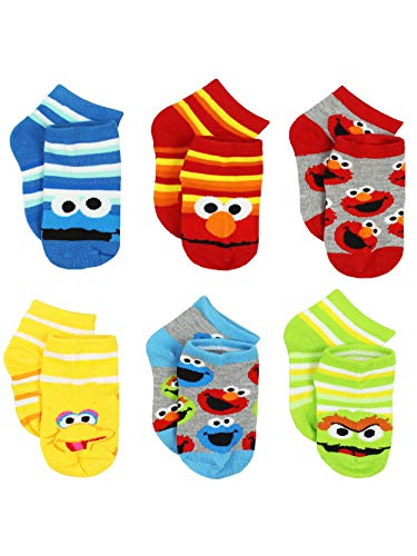 Sesame Street Boys Multi pack Socks (4-6 / Shoe: 7-10, Stripes Quarter 6 pk)