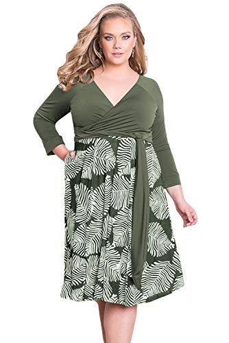Biucly Women's Stylish Plus Size 3/4 Sleeve Contrast Print Dress with a Sexy V Neckline and Pockets