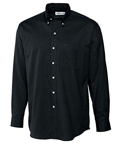 Cutter & Buck Men's Long Sleeve Nailshead Woven Shirt, Black, (Nailshead Woven Shirt)