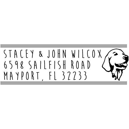 Retriever Address Stamp - Custom Dog Stamp - Self Inking Dog Rubber Stamp