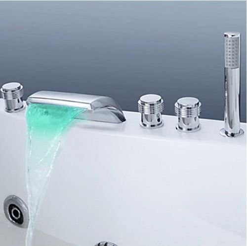 LED 5Pcs Chrome Bathtub Deck Mounted Waterfall Mixer Tap With