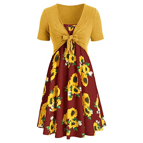 Sunhusing Women's Solid Color Short Sleeve Bow Tie Lace Up Sunflower Print Off-Shoulder Dress Set Wine ()
