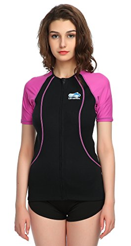 Lemorecn Wetsuits Top 1.5mm Neoprene Rash Guard for Women Scuba Diving Short Sleeve Shirt