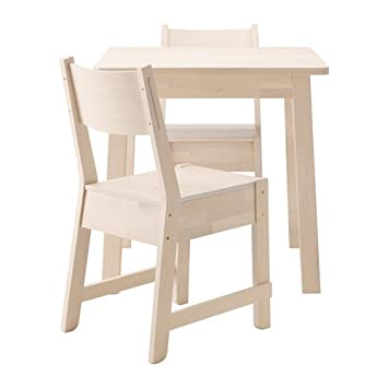 Ikea Norraker Table And 2 Chairs, White Birch, White Birch