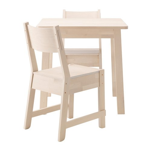 Ikea Table and 2 chairs, white birch, white birch 4204.5238.3834