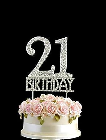 Kristall Monogran Happy 21 Birthday Cake Topper Strass Mit Silber Bling Kuchen Dekoration Party