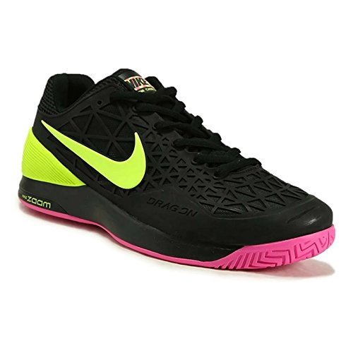 Nike Zoom Cage 2 Mens Tennis Scarpe Da Ginnastica 705247 Scarpe Da Ginnastica Nere / Volt / Rosa Esplosione
