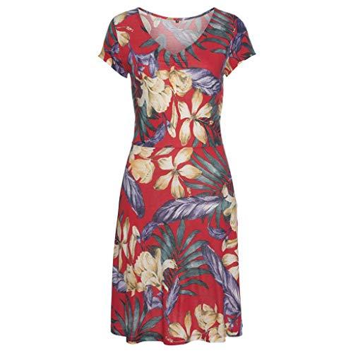 AKwell Women's Spring Short Sleeve Purple Leaf Multicolor Print Cap Sleeve V-Neck High Waist Dress