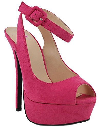 Women Stilettos Heel Open Peep Toe Ankle Strap Platform