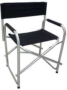Silla de director plegable, de aluminio y tela negra, para el jardín, playa, camping