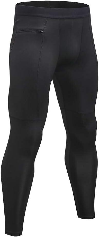 Men/'s Compression Tights Athletic Gym Cool Dry Basketball Baselayer Side Pocket