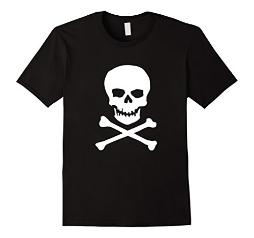 Black Bone Cross (Mens Skull & Cross Bones t-shirt White Silhouette Poison Danger 3XL Black)