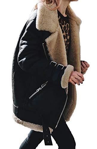Larga Abrigos Outerwear Negro Mujer Vintage De Gamuza Solapa Anchas Chaqueta Talla Manga Ropa Espesar Chaquetas Elegantes Grande Caliente Invierno Fashion ZnBAW4qq8