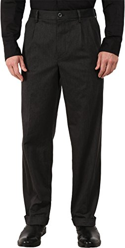 Dockers Relaxed Fit Comfort Khaki Cuffed Pants - Pleated D4 Charcoal (Cotton Pleated Twill Pants Charcoal)