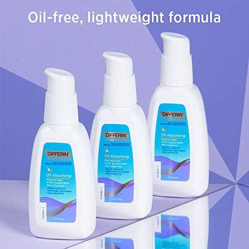 Differin Oil Absorbing Moisturizer with Sunscreen- Broad Spectrum UVA/UVB SPF 30, 1 pack, 4oz