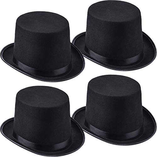 4 Packs Funny Party Hats Black Felt Top Costume Hat Costume Party Accessory for Men and Women Unisex