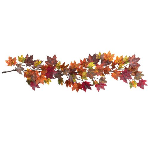 Nearly Natural 4939 Maple Leaf Garland, 60-Inch, Multicolored/Orange