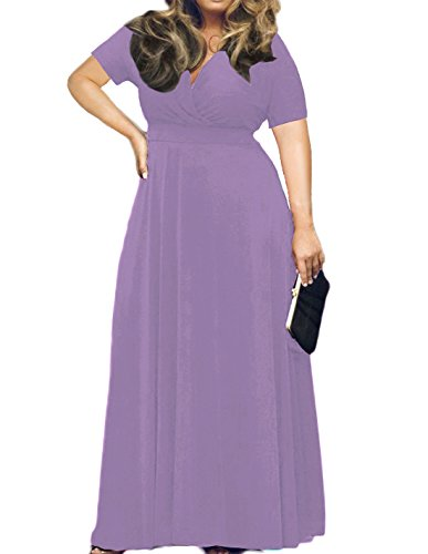 Neck Plus Evening Light Women's POSESHE Maxi Dress Purple Size V Solid Short Sleeve Party 64AxFpwqt