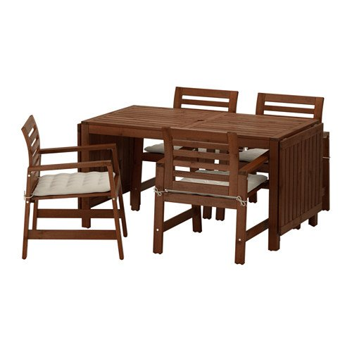 IKEA Table and 4 armchairs, outdoor, brown stained, Hållö