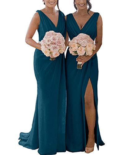 Yilis Women's Double V Neck A Line Ruffled Slit Chiffon Evening Party Dress Long Elegant Formal Prom Gown Teal Green US16 (Halter Ruffled Evening Gown)