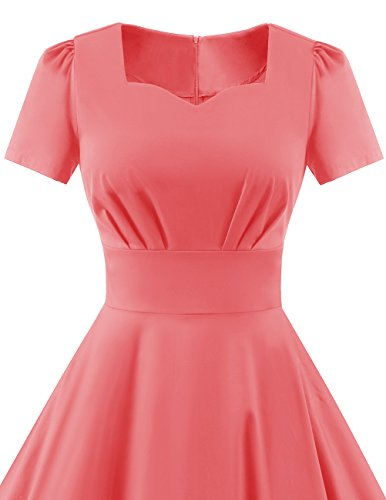 Dress Audery Swing Dresses 1950s DRESSTELLS Sleeved Pink Retro Solid Vintage Color Prom Short UzwBPOxn