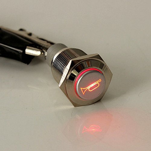 ESUPPORT 12V Car Auto Red LED Light Momentary Speaker Horn Push Button Metal Toggle Switch 19mm