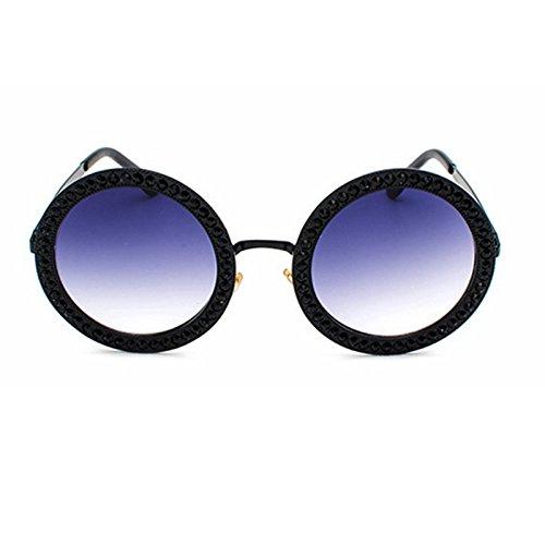 Redonda Gafas Sol De De Rosa Con Óculos Sol Para De black Vintage Strass Gafas Tonos Mujer TIANLIANG04 Hombres dF7qwI7