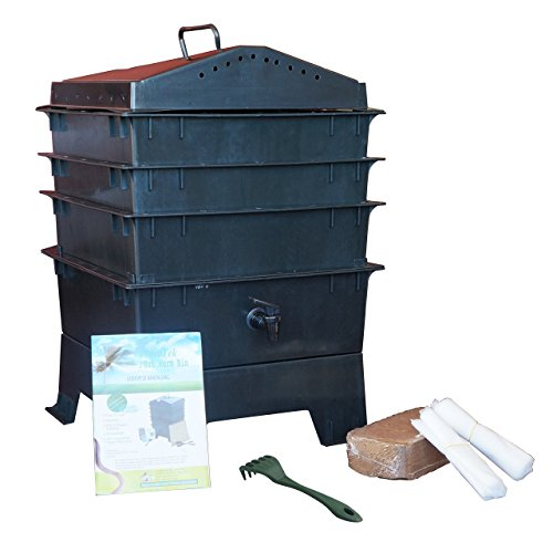 VermiHut 3-Tray Worm Compost Bin with Free Claw-Black