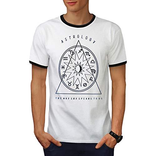 wellcoda Astrology Signs Zodiac Mens Ringer T-Shirt, Sky Graphic Print Tee White/Black M ()