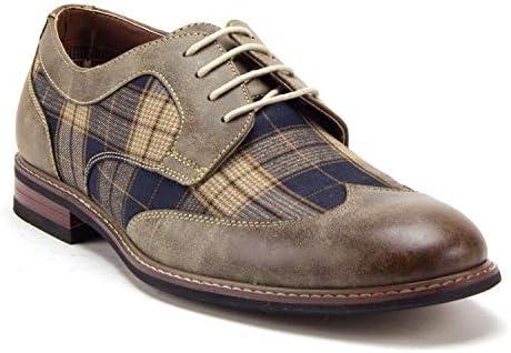 Ferro Aldo Men's 19266A Wing Tip Plaid Lace Up Oxfords Dress Shoes