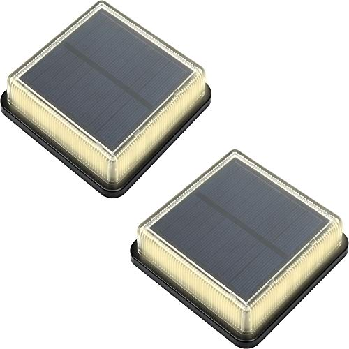 Solar Lights Outdoor Waterproof Garden Ground Step Stairs Dock Deck Pathway Road Edge LED Lamp for Plaza Yard Patio Walkway Driveway Hiking Trail Boat (Warm White,2 Pack)