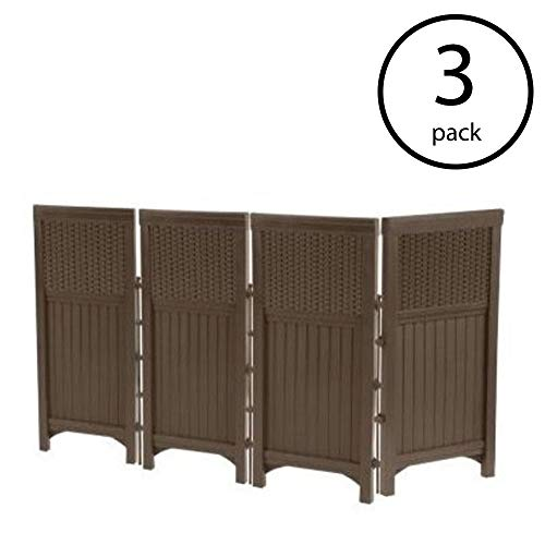 Suncast Outdoor Garden Yard 4 Panel Screen Enclosure Gate Fence, Java (3 Pack)
